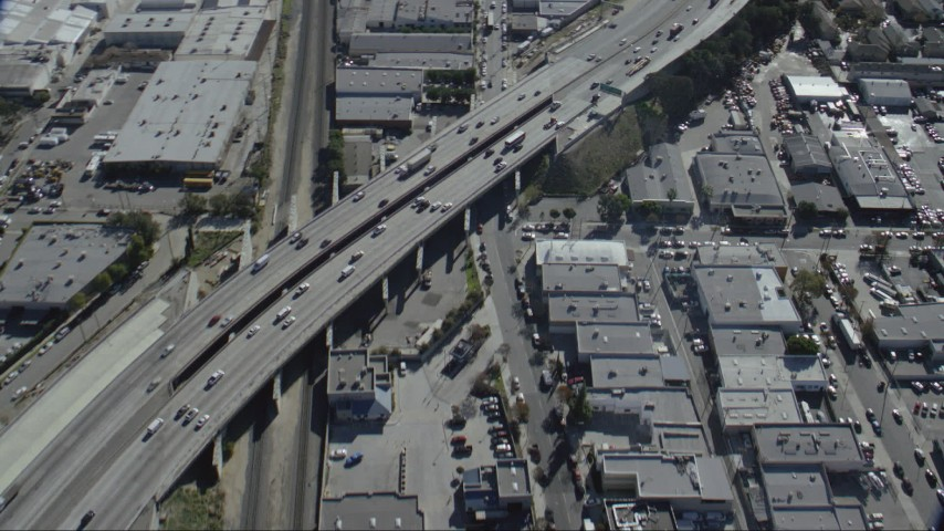 HD stock footage aerial video of a bird's eye view of light traffic on I-5 in Burbank, California Aerial Stock Footage | CAP_012_004