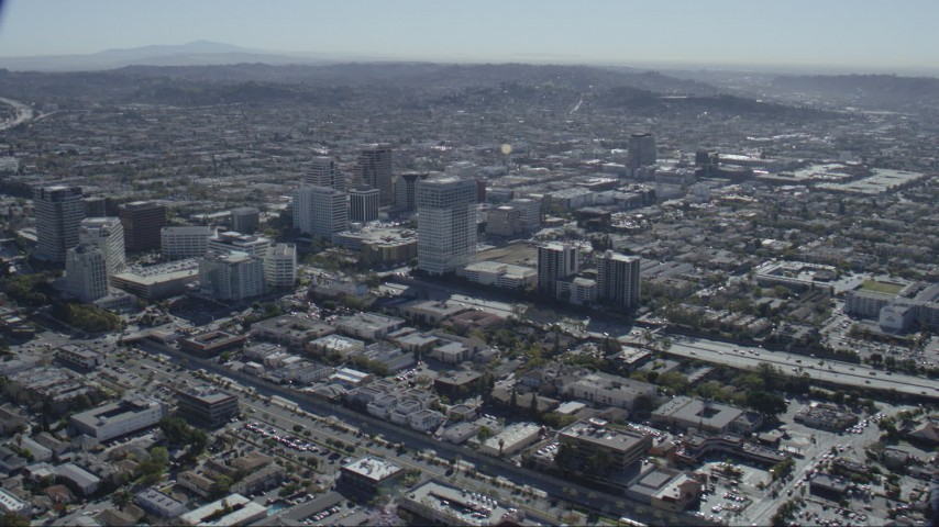 HD stock footage aerial video of tall office buildings around the 134 freeway in Glendale, California Aerial Stock Footage | CAP_012_007