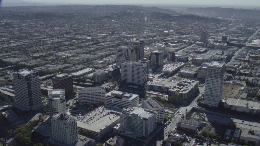 HD stock footage aerial video of tall office buildings beside the 134 freeway in Glendale, California Aerial Stock Footage | CAP_012_008