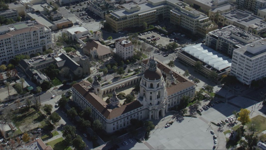 HD stock footage aerial video approach Pasadena City Hall in Pasadena, California Aerial Stock Footage | CAP_012_014