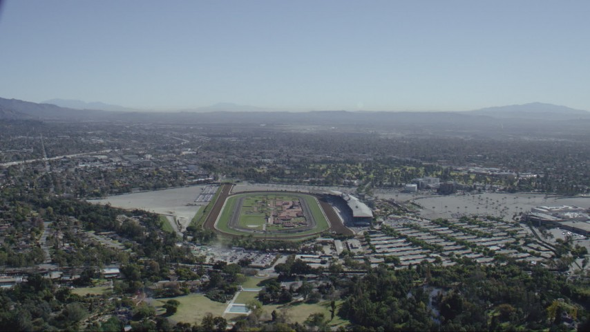 HD stock footage aerial video approach the Santa Anita Park horse racing track in Arcadia, California Aerial Stock Footage | CAP_012_015