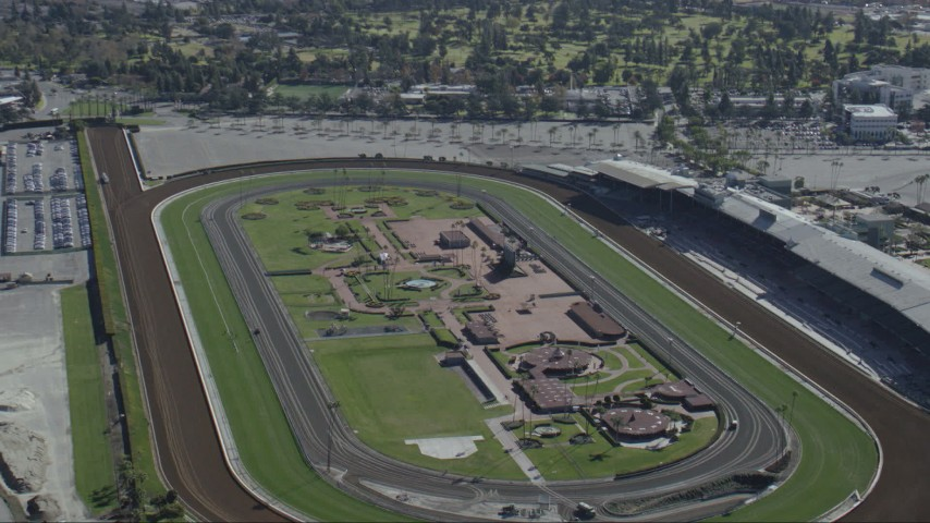 HD stock footage aerial video of the Santa Anita Park horse racing track in Arcadia, California Aerial Stock Footage | CAP_012_016