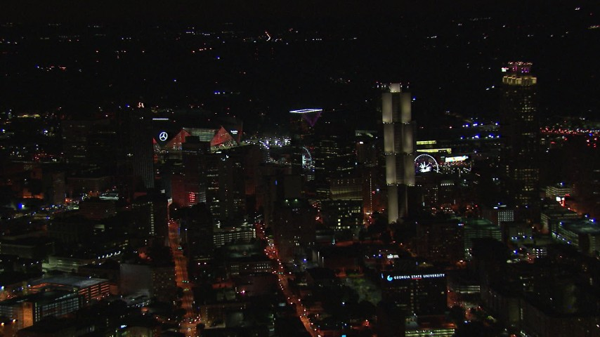 HD stock footage aerial video orbit skyscrapers and city buildings at night, Downtown Atlanta, Georgia Aerial Stock Footage | CAP_013_007