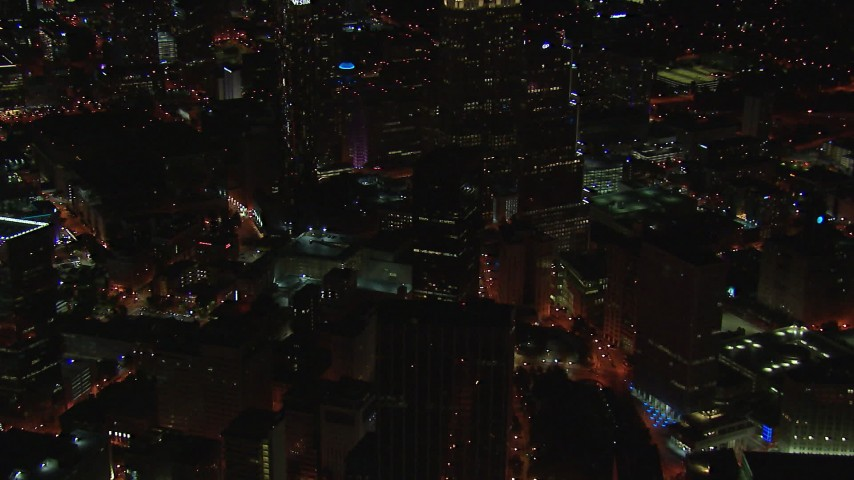 HD stock footage aerial video of office buildings near skyscrapers at night, Downtown Atlanta, Georgia Aerial Stock Footage | CAP_013_031