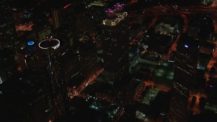 HD stock footage aerial video of orbiting 191 Peachtree Tower at night, Downtown Atlanta, Georgia Aerial Stock Footage | CAP_013_032