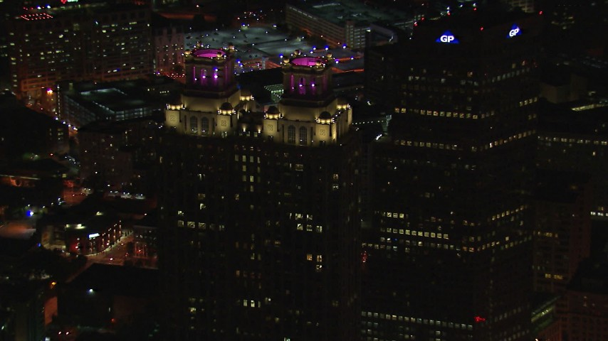 HD stock footage aerial video of circling 191 Peachtree Tower at night, Downtown Atlanta, Georgia Aerial Stock Footage | CAP_013_033