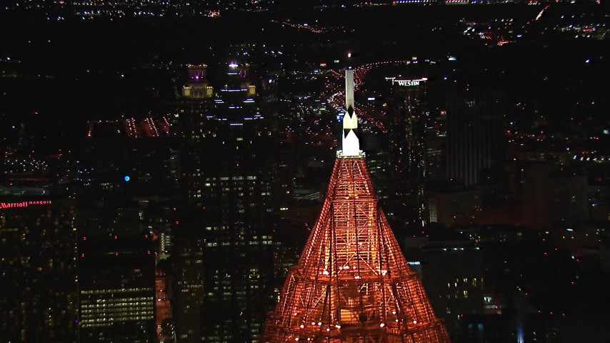 HD stock footage aerial video fly away from SunTrust Plaza, reveal Bank of America Plaza at night, Downtown Atlanta, Georgia Aerial Stock Footage | CAP_013_035