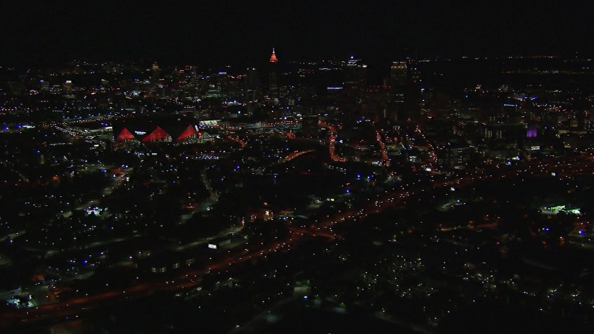 HD stock footage aerial video of a wide view of the stadium and downtown skyline at nighttime, Downtown Atlanta, Georgia Aerial Stock Footage | CAP_013_047