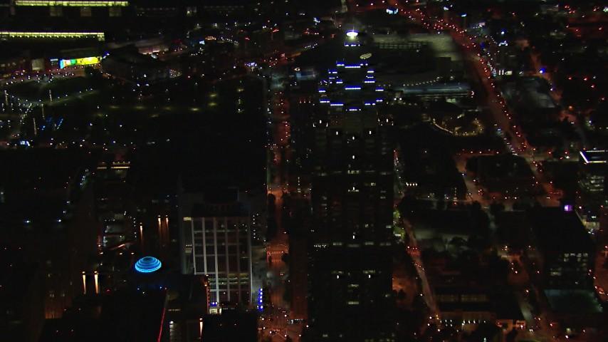 HD stock footage aerial video of orbiting around SunTrust Plaza at night, Downtown Atlanta, Georgia Aerial Stock Footage | CAP_013_071