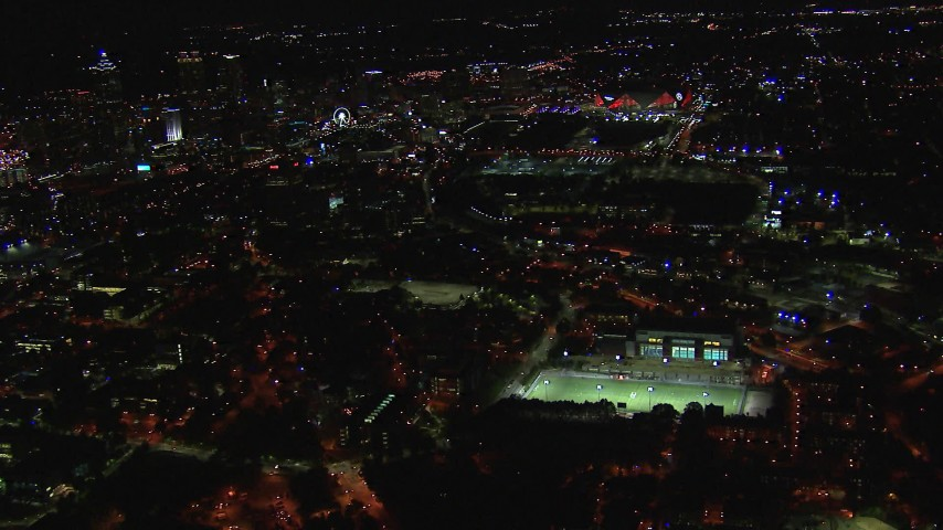HD stock footage aerial video fly over Georgia Institute of Technology campus toward stadium at night, Atlanta, Georgia Aerial Stock Footage | CAP_013_081