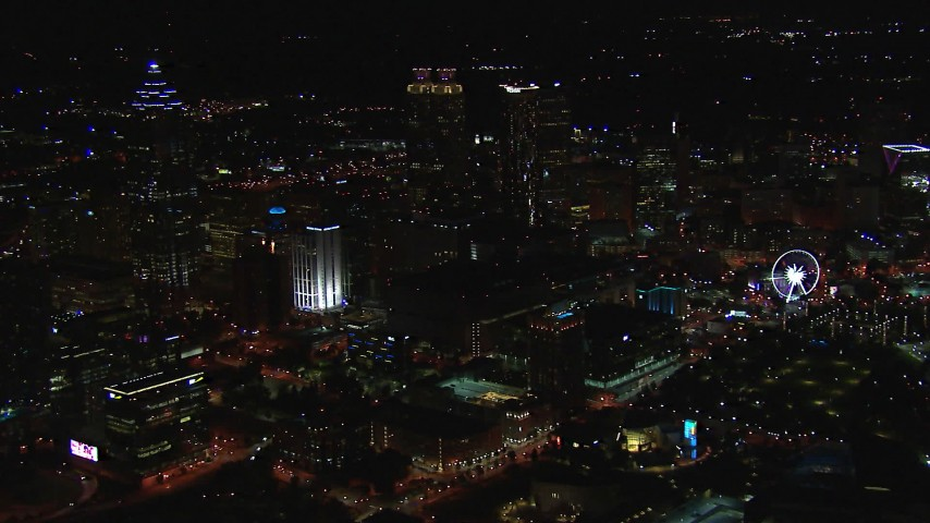 HD stock footage aerial video of a view of the downtown skyline at night, Downtown Atlanta, Georgia Aerial Stock Footage | CAP_013_112
