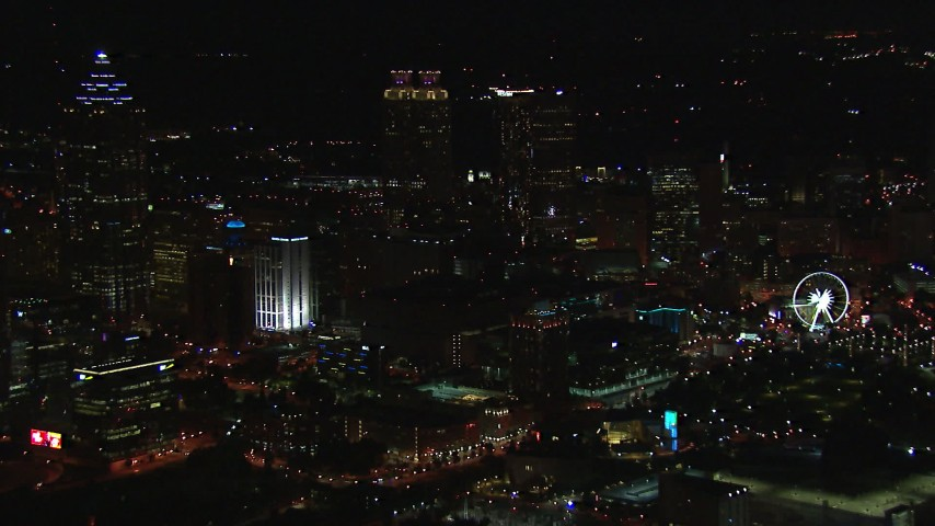 HD stock footage aerial video of city's downtown skyline at night, Downtown Atlanta, Georgia Aerial Stock Footage | CAP_013_113