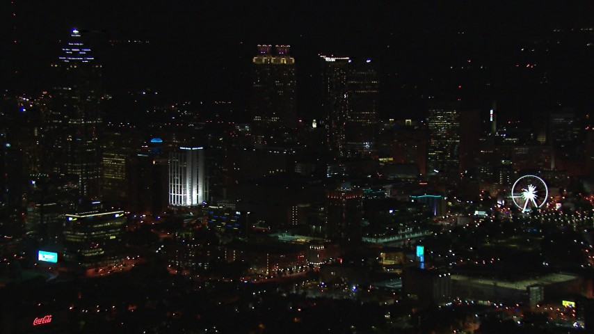 HD stock footage aerial video of slowly flying away from the city's downtown skyline at night, Downtown Atlanta, Georgia Aerial Stock Footage | CAP_013_114