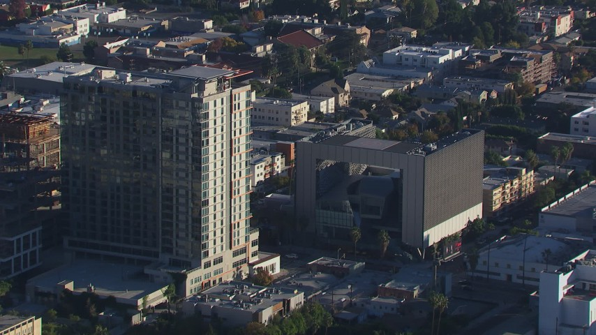 HD stock footage aerial video of apartment and college buildings in Hollywood, California Aerial Stock Footage   CAP_016_003