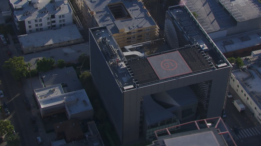 HD stock footage aerial video of orbiting Emerson College in Hollywood, California Aerial Stock Footage | CAP_016_004