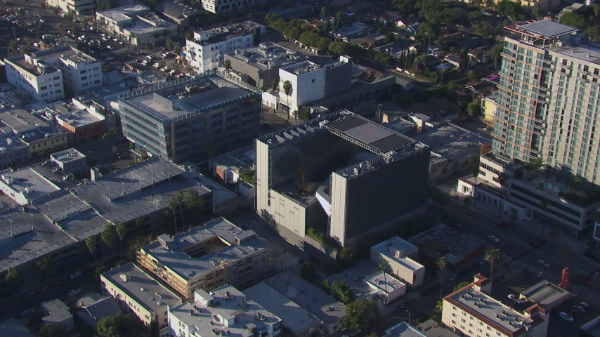 HD stock footage aerial video of an orbit of Emerson College in Hollywood, California Aerial Stock Footage | CAP_016_005