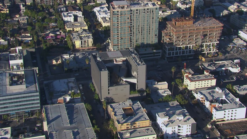 HD stock footage aerial video of circling Emerson College in Hollywood, California Aerial Stock Footage | CAP_016_006