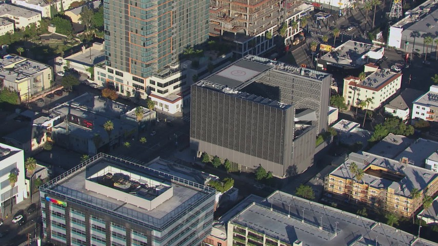 HD stock footage aerial video orbit around Emerson College in Hollywood, California Aerial Stock Footage | CAP_016_007
