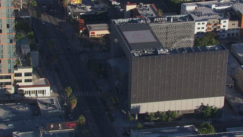 HD stock footage aerial video flying around Emerson College in Hollywood, California Aerial Stock Footage   CAP_016_008