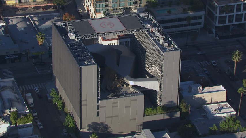 HD stock footage aerial video of approaching the college in Hollywood, California Aerial Stock Footage | CAP_016_013