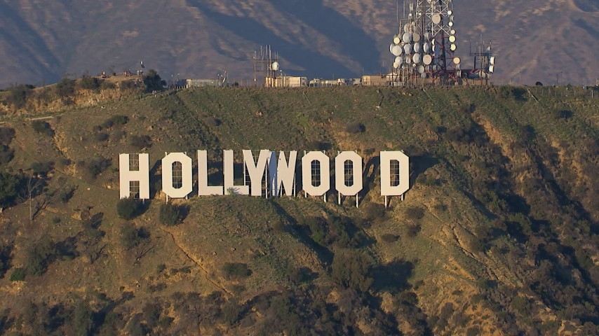 HD stock footage aerial video a close-up view of the Hollywood Sign in Los Angeles, California Aerial Stock Footage | CAP_016_032