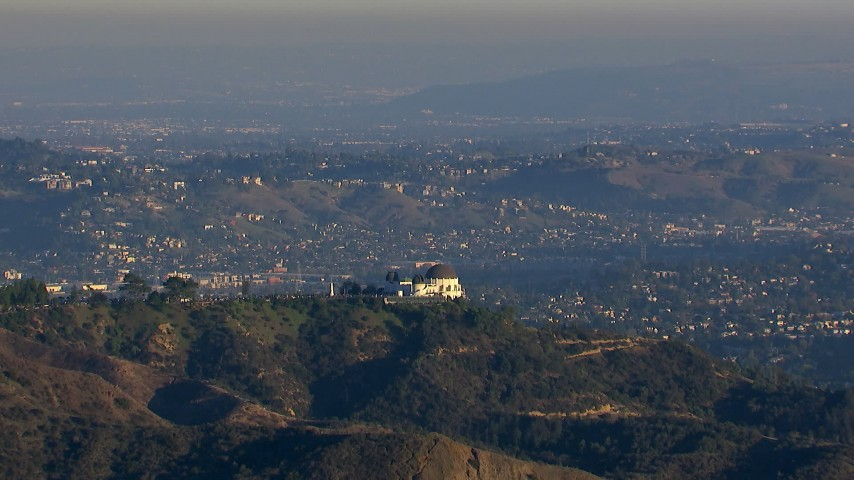 HD stock footage aerial video orbit Griffith Observatory in Los Angeles, California Aerial Stock Footage | CAP_016_036