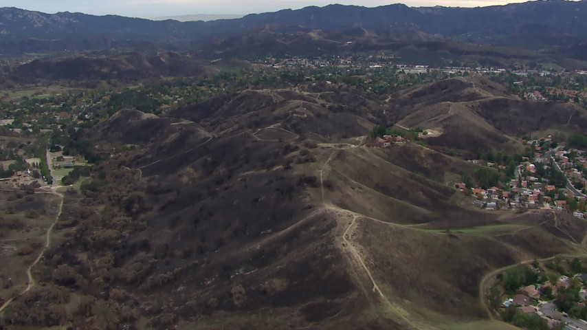 HD stock footage aerial video of flying over burned hills in Malibu, California Aerial Stock Footage | CAP_018_002