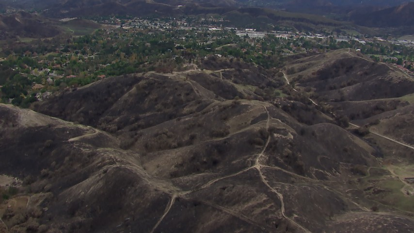 HD stock footage aerial video of flying above burned hills in Malibu, California Aerial Stock Footage | CAP_018_003