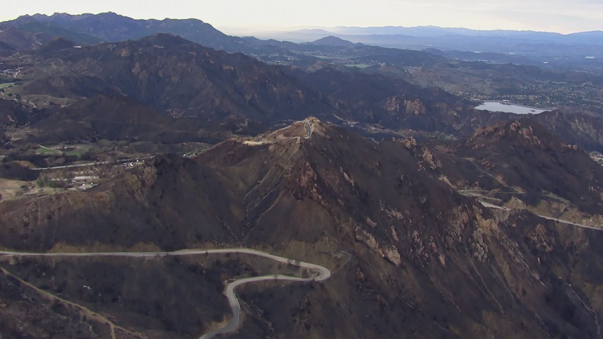 HD stock footage aerial video of mountains scarred by fire, Malibu, California Aerial Stock Footage | CAP_018_018