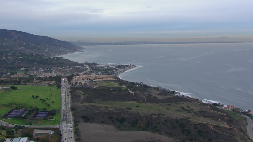 HD stock footage aerial video of approaching oceanfront homes in Malibu at sunset, California Aerial Stock Footage   CAP_018_049