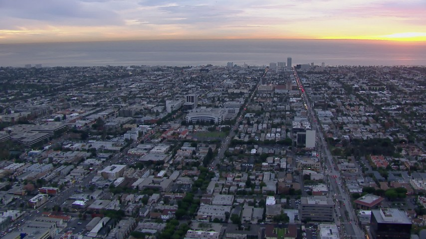 HD stock footage aerial video of Santa Monica and the ocean at sunset, California Aerial Stock Footage | CAP_018_076
