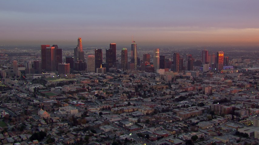 HD stock footage aerial video of the Downtown Los Angeles skyline at sunset, California Aerial Stock Footage | CAP_018_088