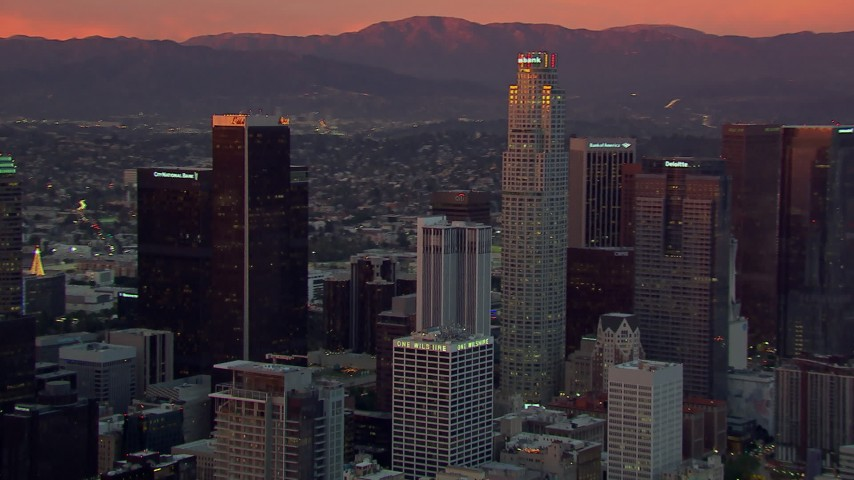 HD stock footage aerial video orbit Downtown Los Angeles skyscrapers at sunset, California Aerial Stock Footage | CAP_018_096