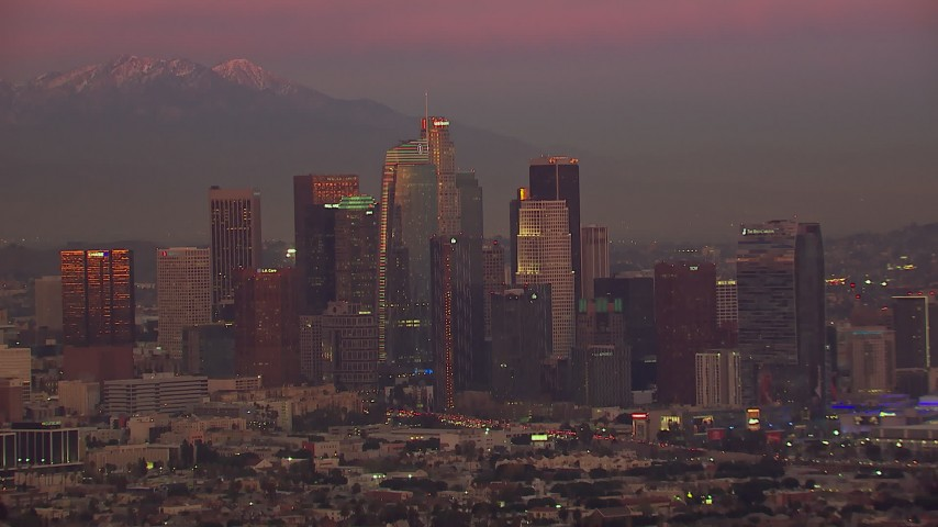 HD stock footage aerial video of the Downtown Los Angeles skyline at sunset, California Aerial Stock Footage | CAP_018_103