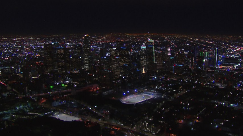 HD stock footage aerial video of the city's skyline at night in Downtown Los Angeles, California Aerial Stock Footage | CAP_018_171