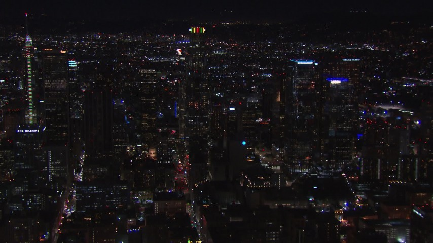 HD stock footage aerial video of US Bank Tower and the city's skyline at night in Downtown Los Angeles, California Aerial Stock Footage | CAP_018_178