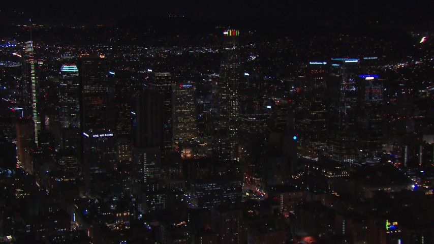 HD stock footage aerial video a wide orbit of US Bank Tower and the city's skyline at night in Downtown Los Angeles, California Aerial Stock Footage | CAP_018_179