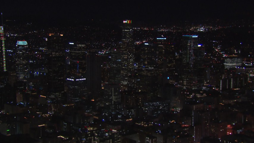 HD stock footage aerial video a view of US Bank Tower and the city's skyline at night in Downtown Los Angeles, California Aerial Stock Footage | CAP_018_180