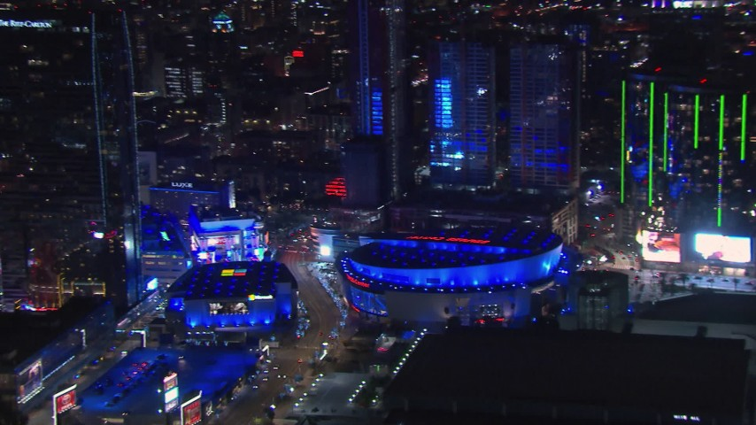 HD stock footage aerial video of panning to Staples Center at night, Downtown Los Angeles, California Aerial Stock Footage | CAP_018_188