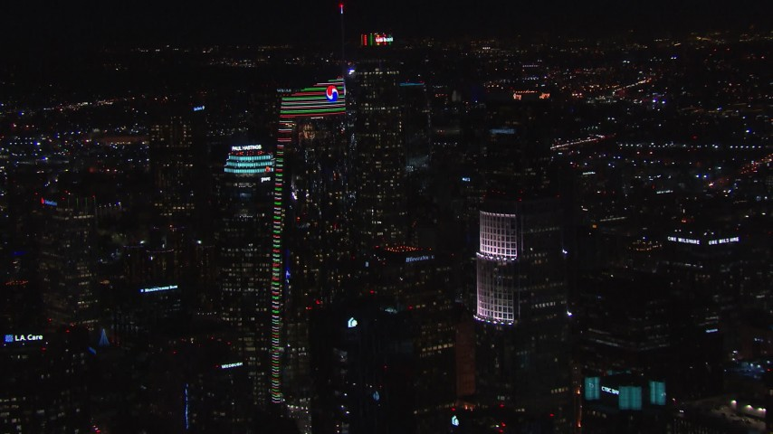 HD stock footage aerial video of orbiting Wilshire Grand Center at night, Downtown Los Angeles, California Aerial Stock Footage | CAP_018_201