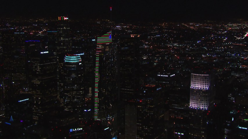 HD stock footage aerial video orbit Wilshire Grand Center at night, Downtown Los Angeles, California Aerial Stock Footage | CAP_018_202
