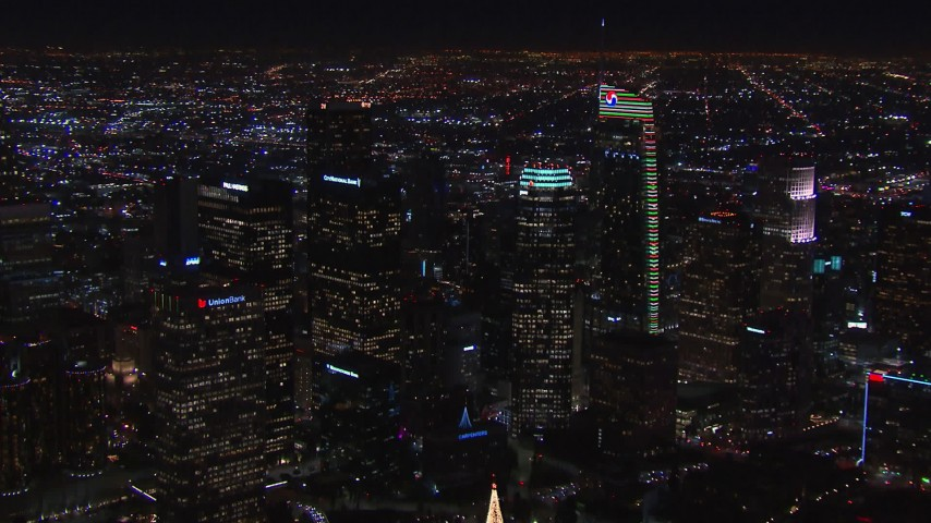 HD stock footage aerial video of towering skyscrapers at night, Downtown Los Angeles, California Aerial Stock Footage | CAP_018_204
