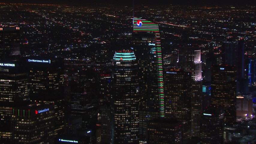 HD stock footage aerial video of two towering skyscrapers at night, Downtown Los Angeles, California Aerial Stock Footage   CAP_018_205