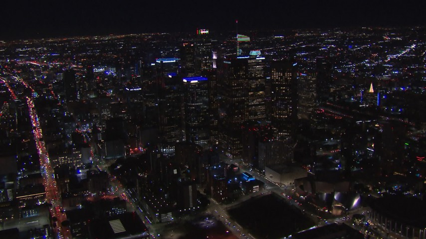 HD stock footage aerial video of a wide orbit of tall skyscrapers at night, Downtown Los Angeles, California Aerial Stock Footage | CAP_018_208