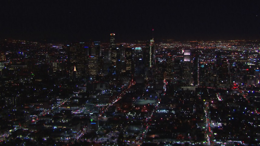 HD stock footage aerial video zooming to wider view of city's skyline at night, Downtown Los Angeles, California Aerial Stock Footage | CAP_018_220