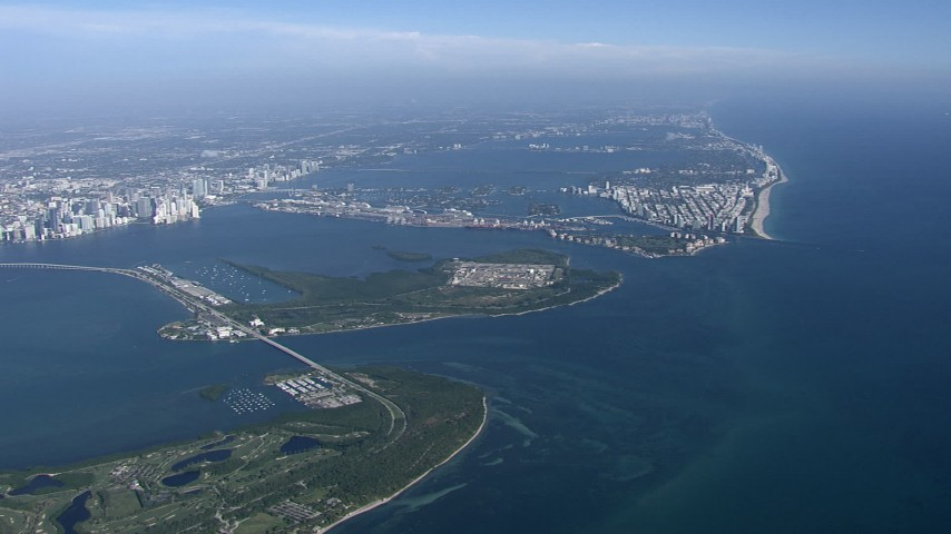 HD stock footage aerial video of Virginia Key and Biscayne Bay, Miami, Florida Aerial Stock Footage | CAP_020_001