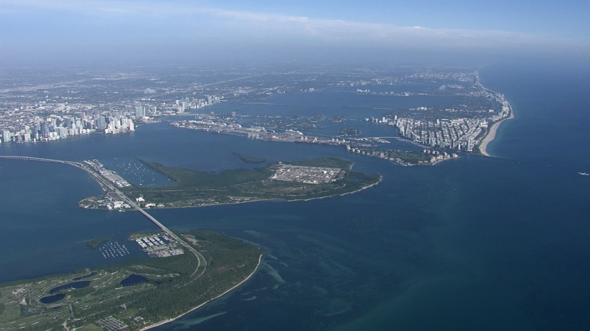 HD stock footage aerial video of flying by Virginia Key and Biscayne Bay, Miami, Florida Aerial Stock Footage | CAP_020_002