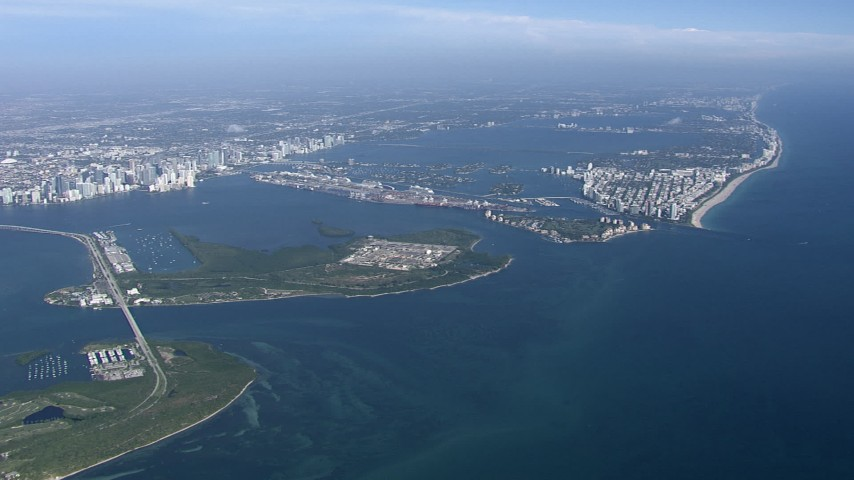 HD stock footage aerial video of passing by Virginia Key and Biscayne Bay, Miami, Florida Aerial Stock Footage | CAP_020_003