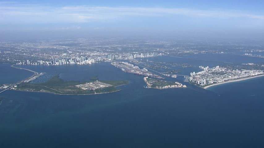 HD stock footage aerial video of a view of downtown, Virginia Key and Biscayne Bay, Miami, Florida Aerial Stock Footage | CAP_020_005