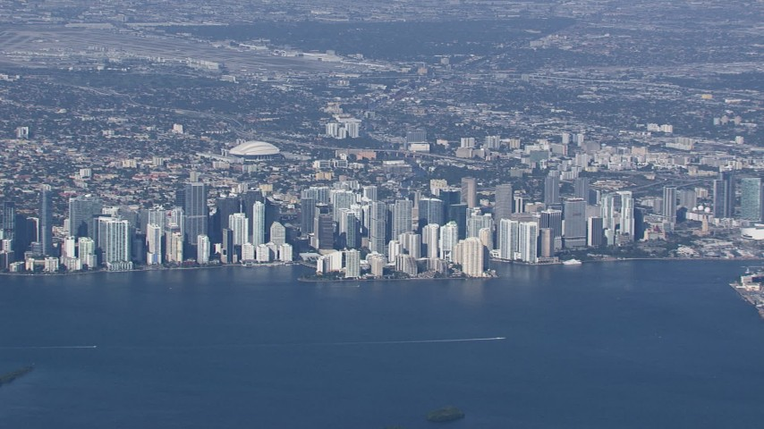 HD stock footage aerial video of the city's downtown skyline, Downtown Miami, Florida Aerial Stock Footage | CAP_020_006